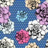 Vintage seamless flower pattern with dots Royalty Free Stock Photography