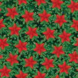 Vintage seamless holiday pattern with pine tree branches and stars.  Royalty Free Stock Images