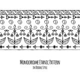 Vintage seamless monochrome ethnic pattern border with floral hand ornament. Vector Stock Image