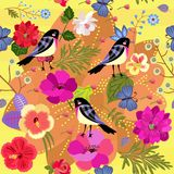 Vintage seamless natural ornament with funny birds, big blue butterflies and bright flowers royalty free illustration