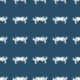 Vintage Seamless ornament for fabrics kissing fish on dark blue background Royalty Free Stock Image