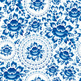 Vintage Seamless ornament pattern with blue flowers and leaves gzhel. Vector Stock Photos