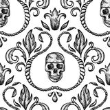 Vintage seamless ornament with skull Stock Images
