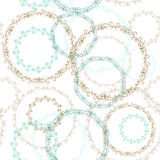Vintage seamless patern, blue brown circle on white background. Vector Royalty Free Stock Image