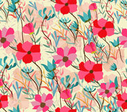 Vintage seamless pattern with abstract flowers Floral background Stock Images