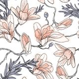 Vintage seamless pattern, background with spring flowers magnolia.