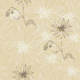Vintage seamless pattern with beautiful flowers. Stock Photography