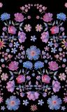 Vintage seamless pattern with beautiful volume embroidery of flowers stock illustration