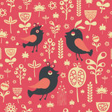 Vintage seamless pattern with birds and flowers. Stock Photos