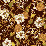 Vintage seamless pattern with blooming magnolias Stock Photography
