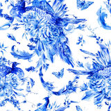 Vintage seamless pattern with blue pair of peacocks Royalty Free Stock Photo