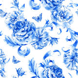 Vintage seamless pattern blue roses and butterflies Stock Images