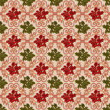 Vintage seamless pattern with bouquet of roses framed by ornamental arabesques Stock Image