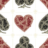 Vintage seamless pattern card suits Stock Images