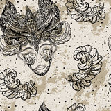 Vintage seamless pattern Carnival party with female head in masquerade mask and feathers on grunge background. Stock Image