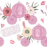Vintage seamless pattern with carriage, kisses, hearts and floral elements on white background. Retro vector illustration in watercolor style Royalty Free Stock Photos