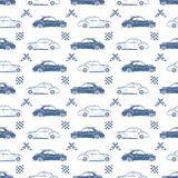 Vintage seamless pattern with cars Royalty Free Stock Photo