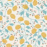 Vintage seamless pattern with chrysanthemum for textile design. Wallpaper, fabric, textile. Blossom floral seamless. Pattern royalty free illustration