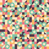 Vintage seamless pattern with circles, squares, rectangles and triangles. Royalty Free Stock Photos