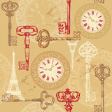 Vintage seamless pattern with clock, keys and Eiff Royalty Free Stock Images