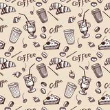 Vintage seamless pattern of coffee and cupcake. Stock Photos