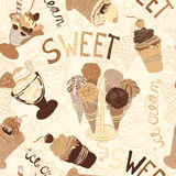 Vintage seamless pattern with collection of hand drawn ice cream  Royalty Free Stock Photography