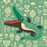 Vintage seamless pattern with colorful crocodile and flowers. Stock Photos