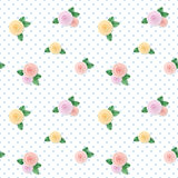Vintage seamless pattern with colorful roses on polka dots background. Royalty Free Stock Images