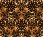 Vintage seamless pattern. Composed of color abstract shapes located on a yellow background. Useful as design element for texture, pattern and artistic stock illustration
