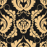 Vintage seamless pattern Damascus. Elegant large golden flowers on a dark background. Can be used to design fabrics, wallpaper, we Royalty Free Stock Images