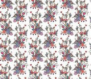 Vintage seamless pattern with decorative flowers, birds and hearts Royalty Free Stock Photos