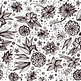 Vintage seamless pattern with decorative flowers and dots. Summer print Stock Image