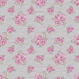 Vintage seamless pattern. Decorative roses on polka dot background Royalty Free Stock Images