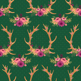 Vintage seamless pattern with deer antlers and Stock Photography