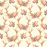 Vintage seamless pattern with deer antlers and Royalty Free Stock Images