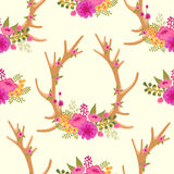 Vintage seamless pattern with deer antlers and Royalty Free Stock Photography