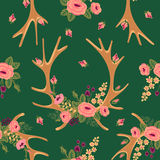 Vintage seamless pattern with deer antlers and Royalty Free Stock Photos