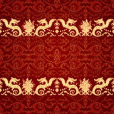 Vintage seamless pattern with dragon vector illustration