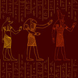 Vintage seamless pattern with egyptian gods on the grunge background with silhouettes of the ancient egyptian hieroglyphs. Stock Photo