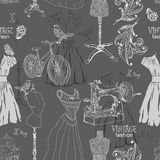 Vintage Seamless pattern - fashion and sewing Royalty Free Stock Photo