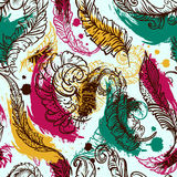 Vintage seamless pattern with feathers and grunge splashes. Retro hand drawn vector illustration. Stock Photo