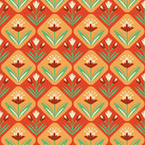 Vintage seamless Pattern with floral ornament. Hand-drawn seamless pattern with leaves and flowers royalty free illustration