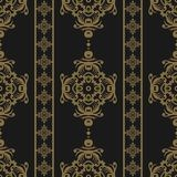 Vintage seamless pattern. Floral ornate wallpaper. Dark vector damask background with decorative ornaments and flowers in Baroque. Style. Luxury endless texture Royalty Free Stock Photo