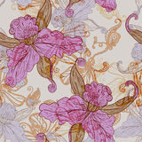 Vintage seamless pattern with flowers Royalty Free Stock Image