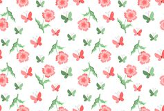 Vintage seamless pattern with flowers and butterflies on white b Stock Photo