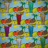 Vintage seamless pattern of fruit cocktails Stock Image