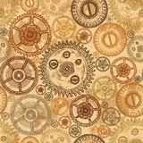 Vintage seamless pattern with gears of clockwork on aged paper background. Retro hand drawn vector illustration royalty free illustration