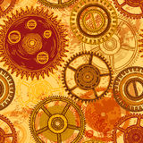 Vintage seamless pattern with gears of clockwork on aged paper background. Royalty Free Stock Photos