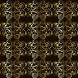 Vintage seamless pattern with golden curls in Victorian style. Stock Photo