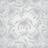 Vintage seamless pattern with gradient silvery flowers. And lace butterflies, vector eps10 royalty free illustration